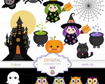 """BOO! Halloween Clip Art Set - 15 Printable cliparts for scrapbooking, cards, web graphics - 6""""x6"""" - PNG- 300dpi- Instant Download"""