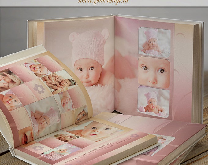 PHOTOBOOK - Our baby-girl- photo book in classic style - Photoshop Templates for Photographers. 12x12 Photo Book/Album Template