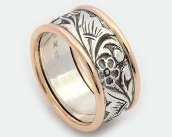 Two tone Floral ring, floral wedding Ring, woodland ring, Botanical ring, Mixed metal Ring, Unique wedding ring , Silver and gold Ring