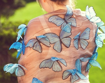 hand painted blue morpho butterfly scarf