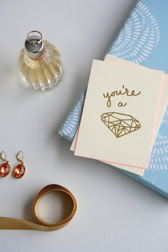 You're a Gem! Luxury Gold-Foil Letterpress Greeting Cards on 220 lb Crane Lettra with Hot Pink Painted Edges