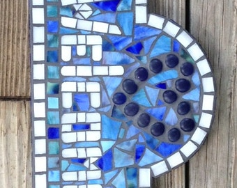 Stained Glass Mosaic Welcome Sign/Welcome Plaque/Heart/Welcome/Blue/White/Housewarming Gift