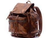 "19""Men Brown Vintage Genuine Leather Backpack,College Backpack,Duffle Backpack,Student Laptop Backpack,School Backpack,Travel backpack-N034"