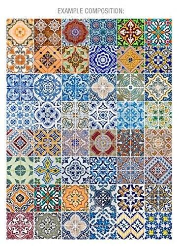 portugese tegels patronen v2 48 tegelstickers keuken. Black Bedroom Furniture Sets. Home Design Ideas