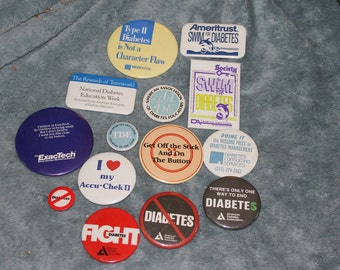 13 Vintage Pin Buttons All Sizes Individual Messages About Diabetes, pins, fashion statement, illness, memorabilia, illness education