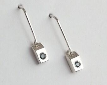 Sterling Silver Sapphire Dangle Earrings