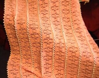 Pink Crochet Stripe Blanket