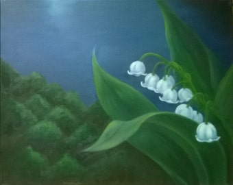 Lily of the Valley Original Oil Painting on Canvas 20 x 16 Inches