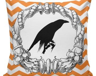 Pillow Cushion Halloween Orange Black Autumn Cotton RQ-109 RavenQuoth All Hallow's Eve Home Decor