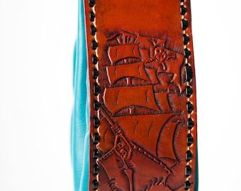 handmade Leather bag, tooled Leather, Nappa Side
