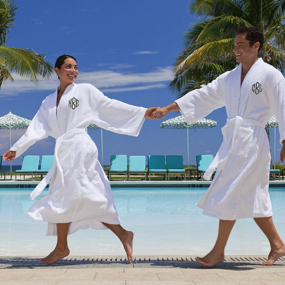 set of 2 his and hers monogrammed terry cloth bathrobes. Black Bedroom Furniture Sets. Home Design Ideas