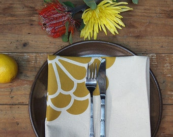 Flower Napkins - Yellow on Natural (set of 4)