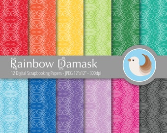 Damask Digital Paper - Rainbow Damask Digital Paper - Rainbow Digital Paper - Set of 12 Digital Scrapbooking Papers