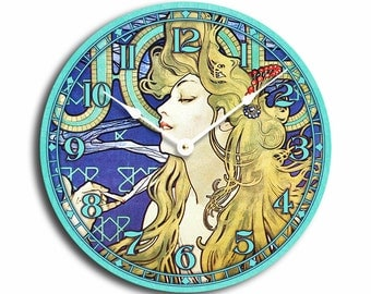 Alfons Mucha art nouveau woman in blue and turquoise 10 inch wall clock. CL3003