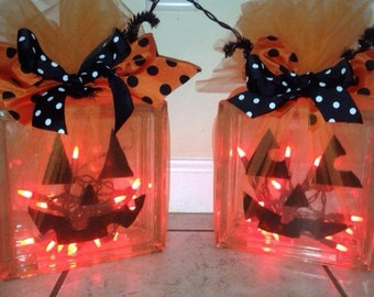 Pumpkin glass blocks with lights
