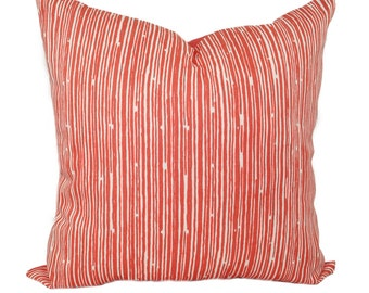 Coral Throw Pillow - Coral Stripe Decorative Throw Pillow Cover - Scribble Coral Accent Pillow Cover - Coral Pillow - Coral and White Pillow