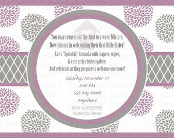 Purple Gray Dahlia Baby Shower Invitation