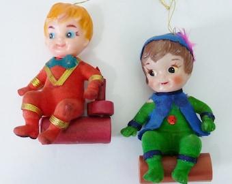 Set of 2 Vintage Kitsch Hard Plastic Boys on Log Christmas Tree Ornaments-FREE SHIPPING