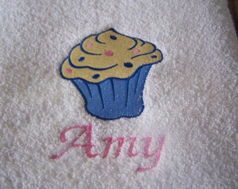 Personalised embroidered Cup cake bath towel (100% cotton)