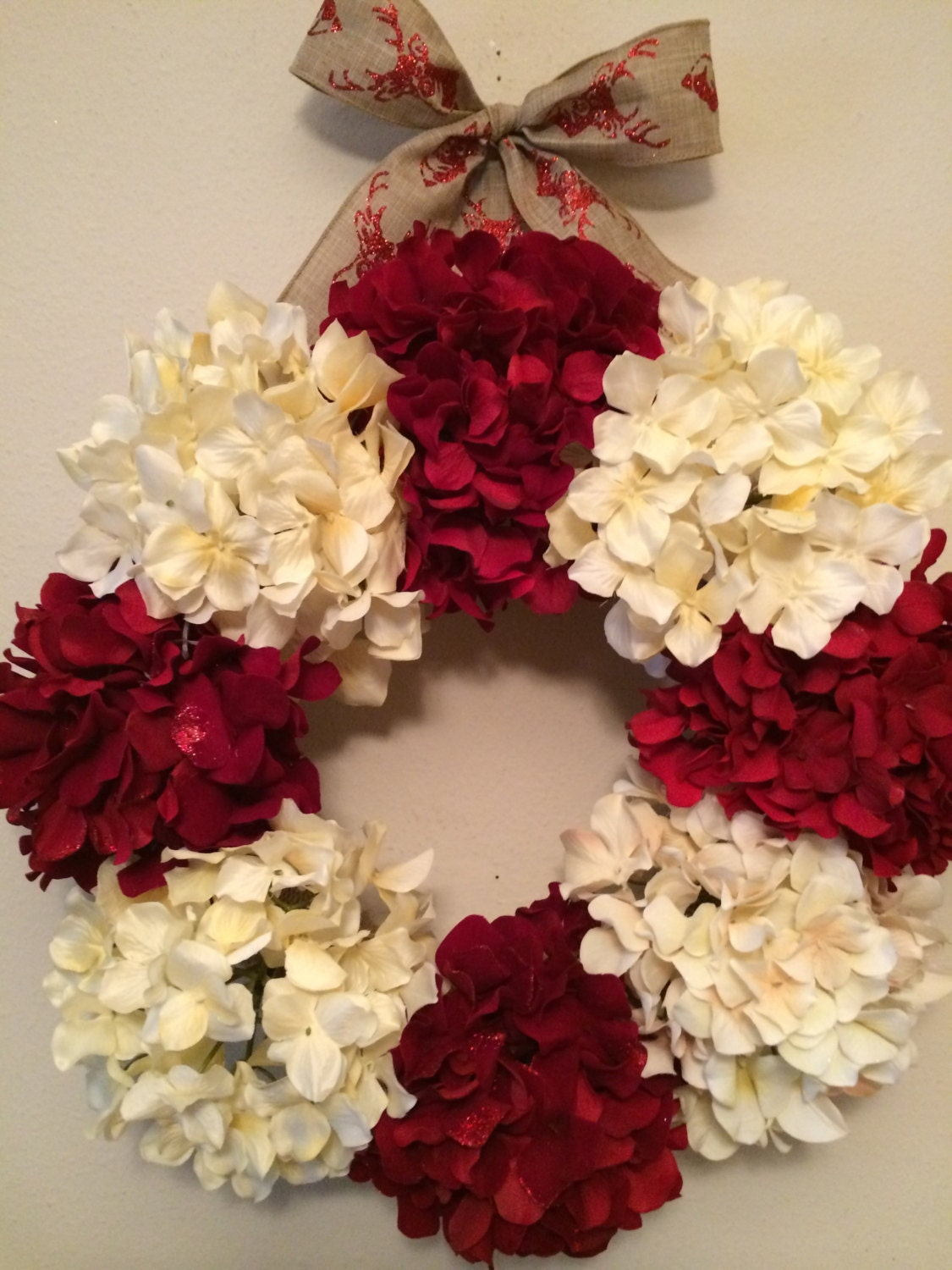 Christmas wreath w/ deer ribbon