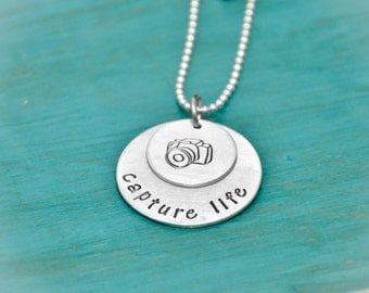 Hand Stamped Capture Life Photography Necklace