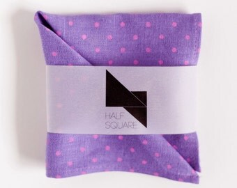 Pocket square radiant orchid with pink polka dots - mens fashion accessory