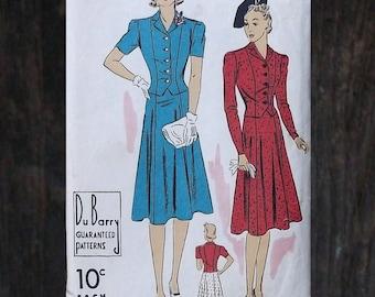 Vintage 30s to 40s 2-Piece Dress Pattern Du Barry 2222 B - Fitted Blouse Skirt Suit Set // Sz 14 Bust 32/