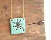 Dandelion enamel pendant necklace.