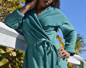 The Arabella Wrap Jacket in Organic Hemp Fleece. Made to order.