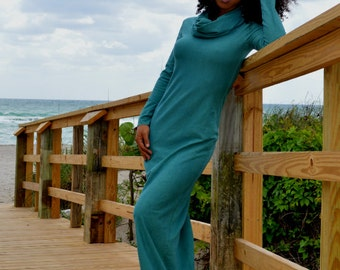 Full length cowl neck dress with long sleeves. Organic hemp jersey (stretchy). Made to order.