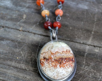 cocoon reversible necklace - mexican lace agate & mexican fire opal and sterilng silver