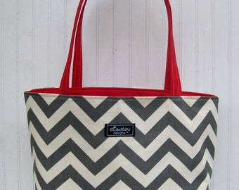 Chevron Boxy Tote Bag with Red Twill