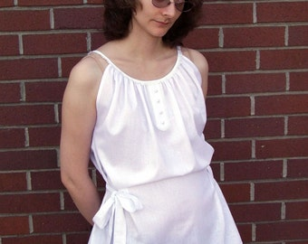 Spring Romance chemise top in white paisley with side ties
