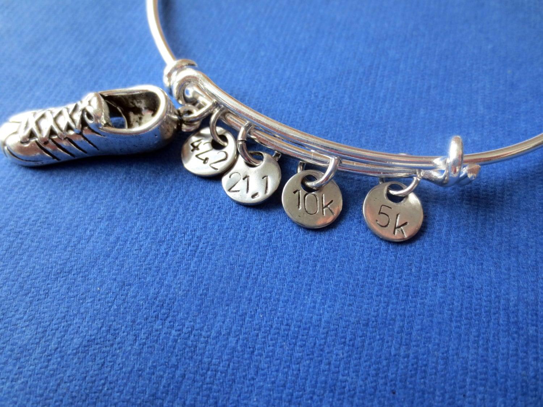 personalized running bangle bracelet distance charm running. Black Bedroom Furniture Sets. Home Design Ideas