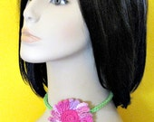 Crochet Choker Pink Daisy Necklace - Mothers Day Gift - Summer Fashion for Women and Teens