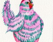 Chicken Watercolors Paintings Original, Original Chicken Art, Pink and turquoise Green chicken watercolor painting, bird art, kitchen decor
