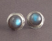 Luz - Labradorite Studs - Stud Earrings with 8mm Gemstones on Hammered Setting - Sterling Silver -  Post Earrings For Men and Women