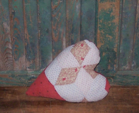 Red Pillow, Antique Quilt Pillow, Country Primitive Heart Pillow Farmhouse Decor, Folk Art, Red Black White Blue Tan