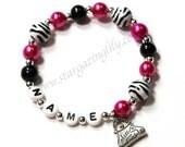 Girly Sassy Hot Pink Black & White Zebra Striped Pearl bracelet YOU CHOOSE CHARM Purse charm animal print jewelry. Zebra Party Favor