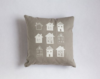 House and Home Screenprinted Pillow