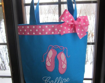 TOTE BAG Dance Tote with Sweet Pink Ballet Slippers WITH Ribbon Trim and Bow