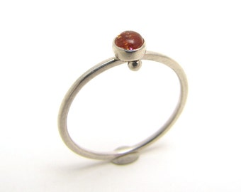 Sunstone and sterling silver stackable ring