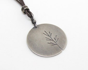 Full Moon Sapling tree art sterling silver pendant with leather and stone cord - made to order