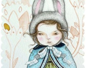 "Orginal Watercolor Illustration, ""Hiding the Eggs"", Easter Bunny Victorian girl rabbit"