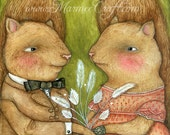 "Romantic Victorian squirrels art print, ""Smitten"""