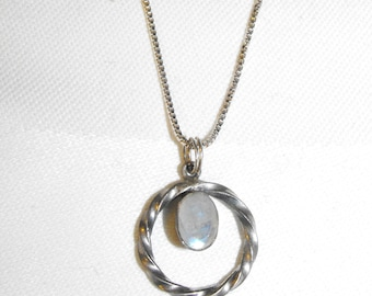 """Moonstone & Sterling Silver Pendant on 18"""" Sterling Silver Chain"""