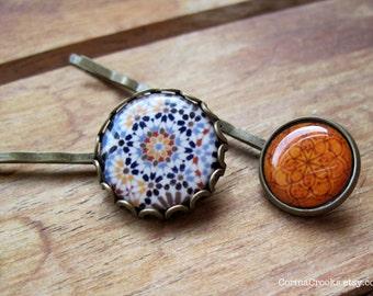 Spanish Wedding bobby pins, Hair Accessories, Islamic tile design, geometric hair pins, Islamic jewelry, Alhambra tile pattern