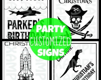 PDF: Customized Shark or Pirate or Dinosaur or Rocket Party Sign with Birthday Kid's Name Customized Personalized