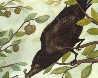 Original Art - The Seven of Crows - Watercolor Crow Painting -The Badgers Forest Tarot