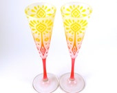 Carnival - Champagne Flutes - Frosted Trumpet Style - Etched and Painted Glassware - Custom Made to Order